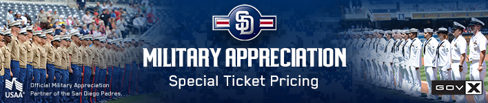 As the official military appreciation partner of the San Diego Padres, we're proud to offer members 50% off tickets to the following games. See note 1 Join USAA and the Padres in recognizing the military community throughout the season.